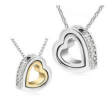 Fashion Women Heart Crystal Charm Pendant Chain Necklace Silver Plated Jewelry x