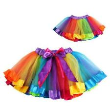 Cute Girls Kid Ballet Dance Wear Dress Rainbow Tutu Party Pettiskirt Apparel F16