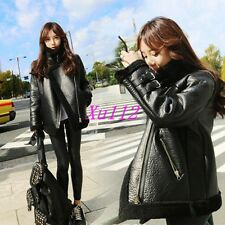 Womens Long Lambswool Motorcycle Pu Leather Stand Collar Coats Jackets Outwears