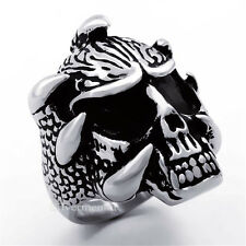 Dragon Claw Skull Mens Fashion Stainless Steel Biker Ring Jewelry US Size 8 to13
