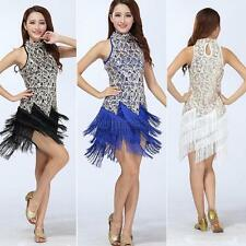 Sexy Women's Sequins Party Ballroom Latin Salsa Dance Dress Fringe Tassel Skirt