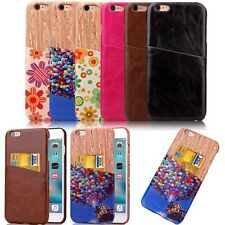For iPhone Samsung LG G3 G4 Shockproof Leather Card Holder Hard Back Case Cover
