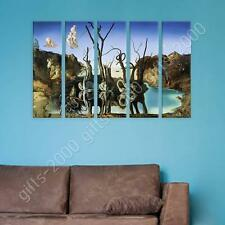 Synthetic CANVAS  Salvador Dali Swans Reflecting Elephants 5 Panels repro
