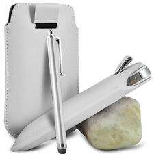 VARIOUS PHONES WHITE PULL TAB LEATHER POUCH CASE COVER W/ BIG STYLUS PEN