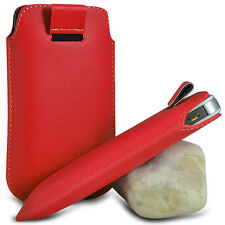 VARIOUS MOBILE PHONE RED PU LEATHER PULL TAB POUCH CASE COVER HOLSTER SKIN
