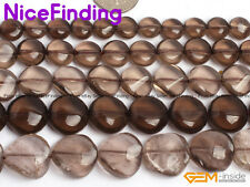 """8,10,12,16mm Coin Natural Smoky Quartz Gemstone Beads For Jewelry Making 15"""" DIY"""