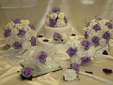 WEDDING FLOWERS BRIDE BRIDESMAID BOUQUET POSY BUTTONHOLE LILAC WHITE OR IVORY