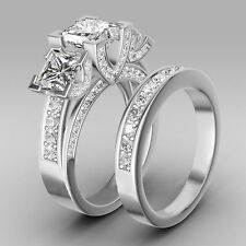 women's 925 Silver Band Wedding Engagement Princess cut CZ Ring Set size 6-9