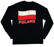 long sleeve t-shirt for men Poland pride Polish flag tee shirt soccer sports