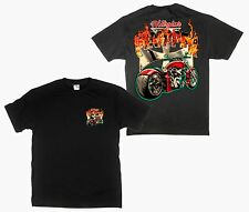Hot Flame Chopper Cross Motor Bike Front & Back Graphic T-Shirt Mens Womens S-4X