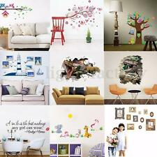 REMOVABLE FLOWERS TREE ANIMALS QUOTES 3D GIRL WALL ART STICKER DECOR DIY HOME