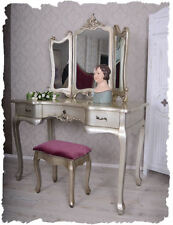 SILVER DRESSING TABLE WITH STOOL ROCOCO POUDREUSE LOUIS XVI