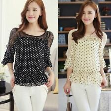 Twinset 2pcs Ruffles Polka Dot Women's Casual Blouse Shirt Tops Camisole Vest