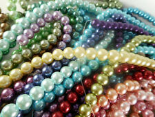 2 Strand Glass 8mm Round Pearl Beads (53 beads) You Pick Color