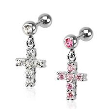 Tragus Helix Cartilage Studs Ear Piercing Cross Pendant CZ Crystal Stones