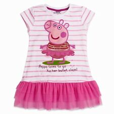 BNWT-Girls Peppa Pig White & Pink Tunic Style Top Many Sizes.