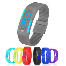 Contemporary Mens Womens Sports Digital Watch Popular Blue LED Rubber Watches