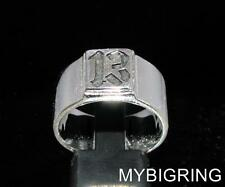 STERLING SILVER MEN'S BIKER BAND RING SQUARE SOCKET LUCKY NUMBER 13 ANY SIZE