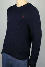 Polo Ralph Lauren Navy Blue Crewneck Cable-knit Sweater Red Pony NWT