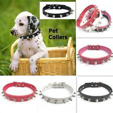 Spiked Studded Pet Dog PitBull Mastiff Leather Buckle Neck Strap Collar SML