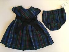 NWT Ralph Lauren POLO Baby Girl Blue Plaid Short Sleeve Dress Panty 3 6 9 18 24