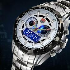 TVG Mens Stainless Steel Sport LED Alarm Quartz Watch Analog-Digital & Box A0S7