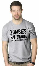 Mens Zombies Eat Brains Shirt Funny Zombie T shirts Living Dead Zombie Outbreak