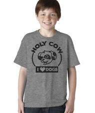 Youth Holy Cow I Love Dogs T Shirt Hilarious Cute Puppy Tee Shirts For Kids