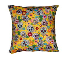 Brand New Yellow Day of the Dead Sugar Skulls cushion cover -