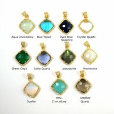 Pave Bezel Gemstone Necklace Pendant, Gold Plated Cubic Zirconia Pendant 17mm