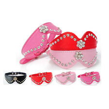 Bling Rhinestones Crystal Leather Collar Adjustable Buckle Necklace For Dogs Cat