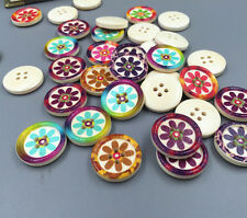 FREE 20-100pcs 4 hole wood color Wood Buttons Fit Sewing Mix Lots scrapbook 20mm