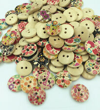 50/100pcs 15mm Mixed Round Pattern 2 Holes Wood Buttons Sewing Scrapbooking