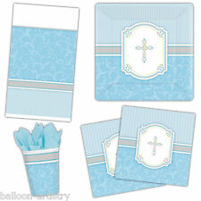 Holy Blessing Blue Boy's 1st Communion Cross Party Plates Cups Tableware Listing