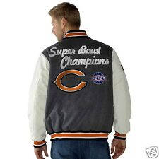 Chicago Bears jacket leather sleeves wool blend  NFL Bears coat  FREE SHIPPING