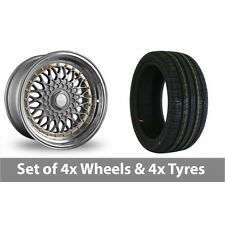 """4 x 17"""" Dare DR-RS Silver Gold Rivets Alloy Wheel Rims and Tyres -  225/45/17"""