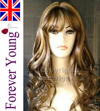 Ladies Long Full Hair Wig Brown Black Fashion Wigs Wavy Style Forever Young UK