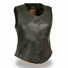 WOMENS MOTORCYCLE BLACK LEATHER VEST w/ FRONT SNAP CLOSURE & POCKETS - SA61