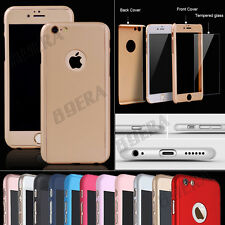 Ultra thin 360° Full Hybrid Tempered Glass Hard Case Cover For iPhone & Samsung