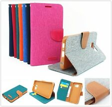 For Smart Phones Folio Wallet Style Denim Canvas Skin Case + Stand Card Slots