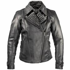 Xelement Women's Punk Studded Biker black leather Jacket  XS-783