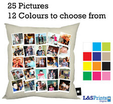 PERSONALISED PHOTO COLLAGE CUSHION AVAILABLE IN 12 COLOURS 25 SEPERATE PHOTOS
