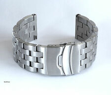 New Men Solid Links 316L Stainless Steel Brushed Double Lock Watch Band,Bracelet