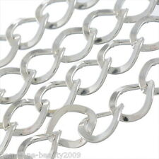 Wholesale HX Silver Plated Square Curb Chains Findings 7x8mm