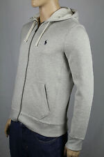Polo Ralph Lauren Grey Hoodie Full Zip Sweatshirt Navy Blue Pony NWT