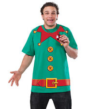 Adult Mens Christmas Holiday Elf Printed T-shirt Suit Shirt Costume