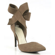 Akira-24 Taupe Suede Pointy toe Pump Side bow Stiletto Heels Women's shoes