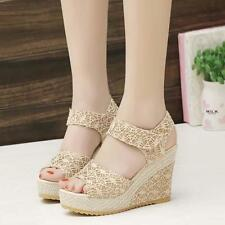 Hot Unique Women PU High Heel Open Toe Gorgeous Lace Hollowed Wedge Sandal Shoes