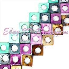 """20mm Square Ring Shell MOP Gemstone For Jewelry Making Spacer Beads Strand 15"""""""