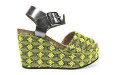 AK640 LOGAN  shoes yellow shiny leather textile women wedges EU 36,EU 39,EU 40
